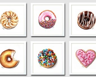 Set of 6 prints, donuts prints, wall decor