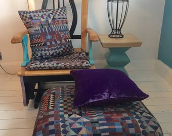 Quirky hand painted vintage rocking chair with bespoke handmade cushions and footstool coordinating side table & lamp