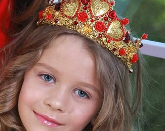 Red Queen Girl Crown Queen of hearts costume with crown for girls red queen dress up royal fancy accessories alice in wonderland cosplay