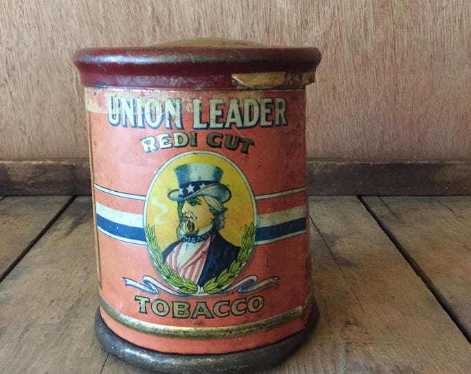 Rare Union Leader Antique Redi Cut Tobacco Round Tin With Lid