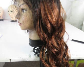 Dyed ombre black into brown color human hair lace wigs