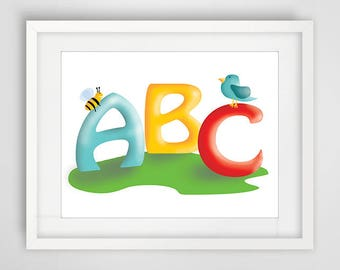 ABC illustration, decoration, colored for children's room, baby room, post script, bee, bird, birthday gift or baptism