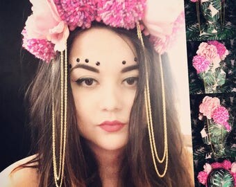 Pink Floral and Pom Pom Headpiece with Gold Chains