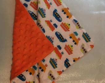 Minky LOVEY blanket for baby boy - orange,blue train/plane/boat