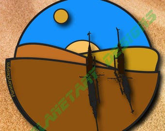 Tatooine Globe Star Wars Decal Sunrises Moisture Vaporators 2x2