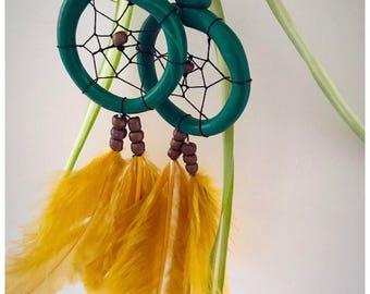 Yellow Dream Earring - Dream catcher earrings