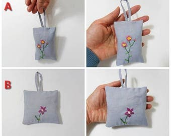 Hand embroidery sachet, lavender & calendulla sachet, sachets by linenNcotton