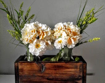 Wood centerpiece, wood planter, cream flowers, green flowers, mother's day, summer ,spring, modern, rustic, beautiful, custom, rich