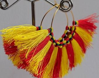 Boho Tassel Hoop Earrings/ Tassel Earrings/ Gypsy Earrings/ Boho Chic Earrings