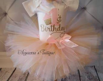 Cupcake birthday tutu set pink white gold