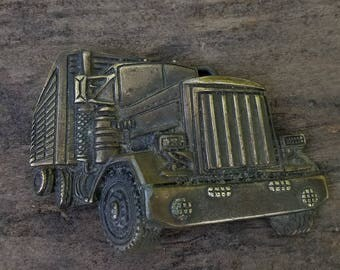 Off-road Trucker 18 wheeler vintage brass belt buckle * FREE SHIPPING*