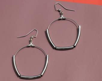 Modern Geometric Hoop Tube Earrings