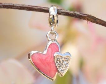 Heart Charm for Bracelet, Pink Double Heart Charm for Bracelet,Pink Enamel Painted CZ Studded Heart Charm for Bracelet, Heart Charm Necklace