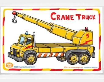 Good Glue Crane Truck Placemat, Kids Trucks Placemats, Trucks,Kids, Good Glue