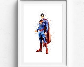Superman print, superman poster, superman watercolor, superhero prints, prints for boys, super hero print, superman home art, kids wall art