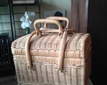 woven Wicker vintage rattan basket