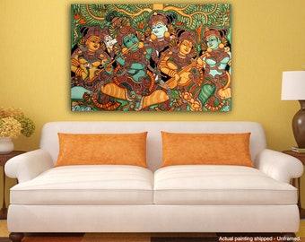 Tamatina Canvas Art - Jai shri Krishna - Kerala Mural Art - Giclée Art - Unframed - 36 Inches x 24 Inches.