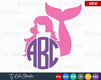 Mermaid Monogram SVG, Fish Mermaid Svg Files,  Mermaid Monogram Svg, Files for Silhouette Cameo or Cricut, Commercial & Personal Use.