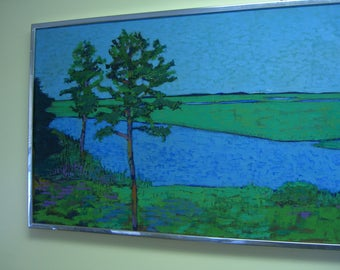 "Great Marsh by Lydia Chamberlin, Vintage Original/Oil on Canvas, 21""X 51"" Signed 1971"