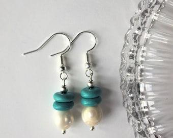 Freshwater Pearl Turquoise Earrings, Freshwater Pearl Earrings, Turquoise Earrings, Modern Earrings, December Birthstone, Gemstone Jewelry