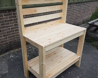 Handmade Pine Potting Bench