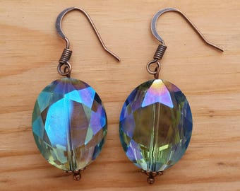 Rainbow Shine Earrings - Dangle Earrings with copper tone wiring