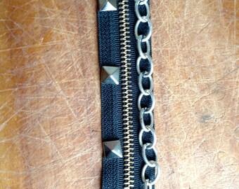 Stud and Chain Black Zipper Bracelet