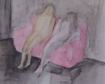 Studio Sale: friends on couch graphite color pencil