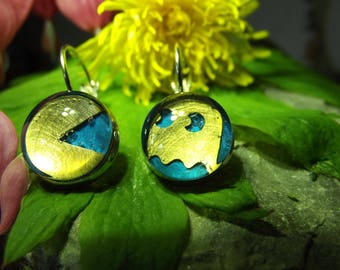 Blue etched brass pacman earrings