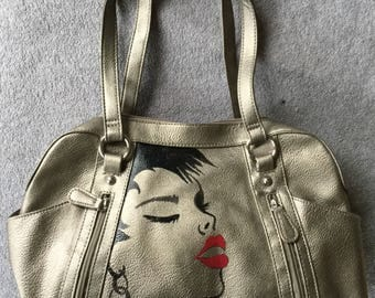 "Hand painted ""kiss"" purse"