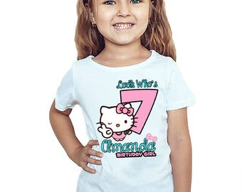 Hello Kitty Birthday T-Shirt Customized Hello Kitty Birthday Girl Personalized Shirt Gift Party Favors Name and Age