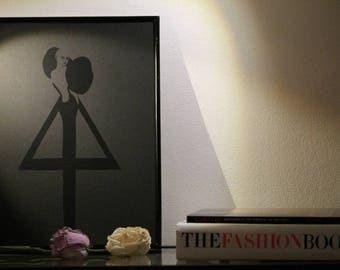 Minimalistic Black On Black Fashion Illustration Big Sleeves Dress