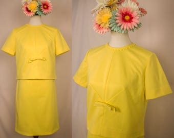 Vintage 60s Buttercup Yellow Skirt Suit - Handmade