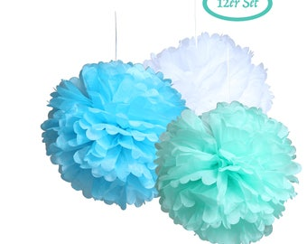 12 tissue paper pompons-paper flowers in white, green and blue pom poms to the vintage - decoration for Babyshower, wedding, birthday