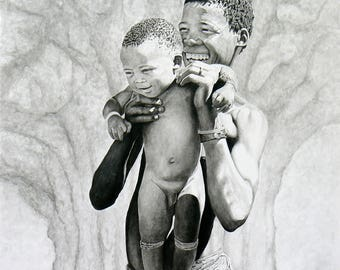 smiling father and child