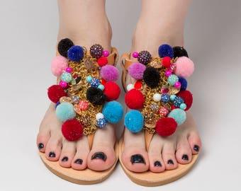 "Greek sandals ""Galaxy""\ Pom pom shoes\Beaded shoes\Summer slides\Colourful shoes\Boho-Ethnic outfi\Pom pom slides\Free shipping!"
