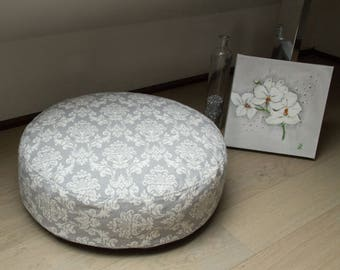 Floor pillow pouf Ø 55 x 17, versatile, grey - cream