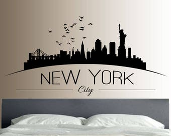 New York wall art, New York wall decal, New York decal, New York decor, New York skyline, New York skyline decal
