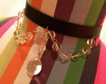 Leather Choker With Crystal Beads
