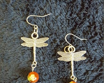 Dragonflies with painted bead accent earrings