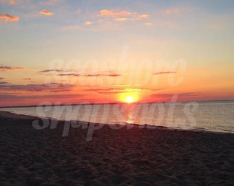 Sunrise by the Bay Cottage Decor Instant Download Beach Photography / Ocean Photography / Landscape Photography