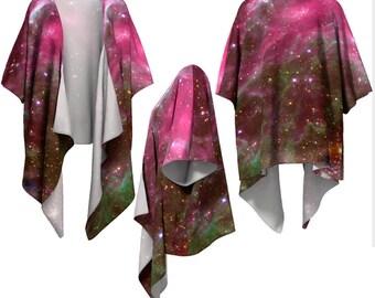 Stars, Tarantula, Nebula, Draped Kimono, Kimono Wrap, Space, Shawls & Wraps, Bohemian, Colored Wrap, Shrug, Shawl, Coverup, Silky Kimono