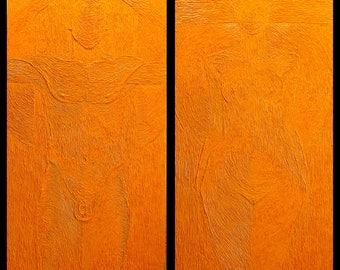 """Wall Art, Modern design- """"DUO/Diptych""""- ORIGINAL Oil Painting, Canvas Art, Modern Decor, Art&Collectibles Size: 120x130 cm"""