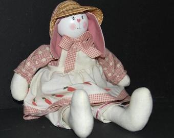 BUNNY DOLL, vintage, handmade, shelf sitter doll, hand painted, one of a kind, doll, bunny doll, rabbit doll, animal doll