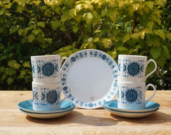 Vintage 1970's Johnson Bothers Engadine Cups, Saucers and Side Plates.