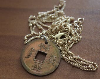 Chinese coin on gold 34 inch adjustable chain