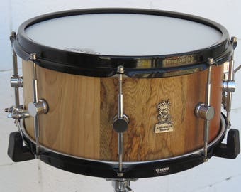 """13""""x6.5"""" Stave Snare Drum, Maple Snare Drum, Mahogany Snare drum, Poplar Snare drum, African walnut Snare Drum, S hoops, Handmade Snare Drum"""