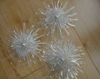 Bespoke  Glass Wall Flower Trio 20cm across