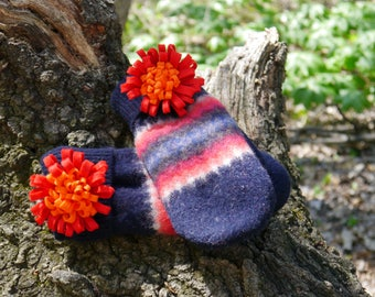 Navy blue with orange burst pins, wooly handmade mittens, materials recycled sweaters, felt, fleece
