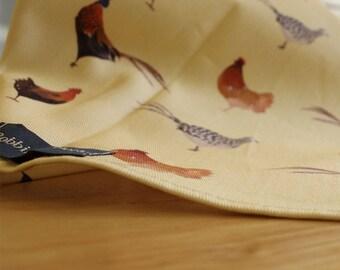 Pheasant and Chickens Print Tea Towel